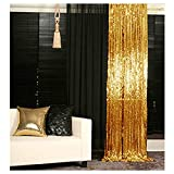 Sequin Curtains 2 Panels Gold 2FTx8FT Sequin Photo Backdrop Sequin Backdrop Curtain Pack of 2~1011E