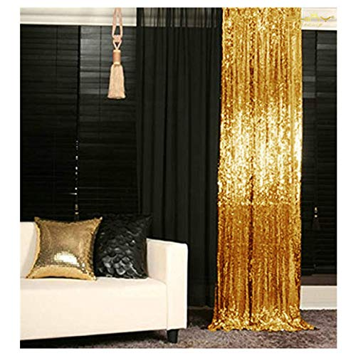 Sequin Backdrop-Gold-3FTX6FT Shimmer Holiday Fabric Backdrops, Sequin Curtains, Drape, Sequin Panels, Gold Home Decor (Curtains Panels Gold 2)