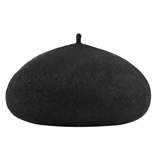 Urban CoCo Women s Solid French Style Beret Wool Blend Beanie Hat ( 2 Black) 487ee03af541