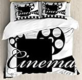 Movie Theater Twin Duvet Cover Sets 4 Piece Bedding Set Bedspread with 2 Pillow Sham, Flat Sheet for Adult/Kids/Teens, Monochrome Cinema Projector inside a Strip Frame Abstract Geometric Pattern