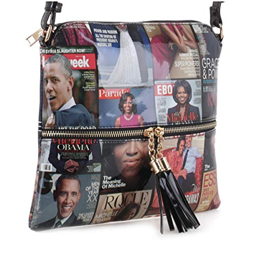 (Glossy Magazine Cover Lightweight Medium Crossbody Bag with Tassel Michelle Obama Purse | Black)