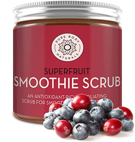 Superfruit Smoothie Scrub, 8.8 fl oz by Pure Body Naturals | Antioxidant-Rich Exfoliating Scrub for Smooth, Rejuvenated Skin ()