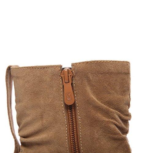 Frosted High Heels Zipper Round Brown Toe AgooLar Women's Solid Boots HUnwq1Ha6