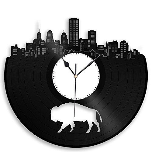 Buffalo Clock - VinylShopUS - Buffalo Vinyl Wall Clock Cityscape Retro Decor