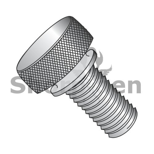 Knurled Thumb Screw with Washer Face Fully Threaded Aluminum 8-32 x 3/8 (Box of 100) weight0.42Lbs