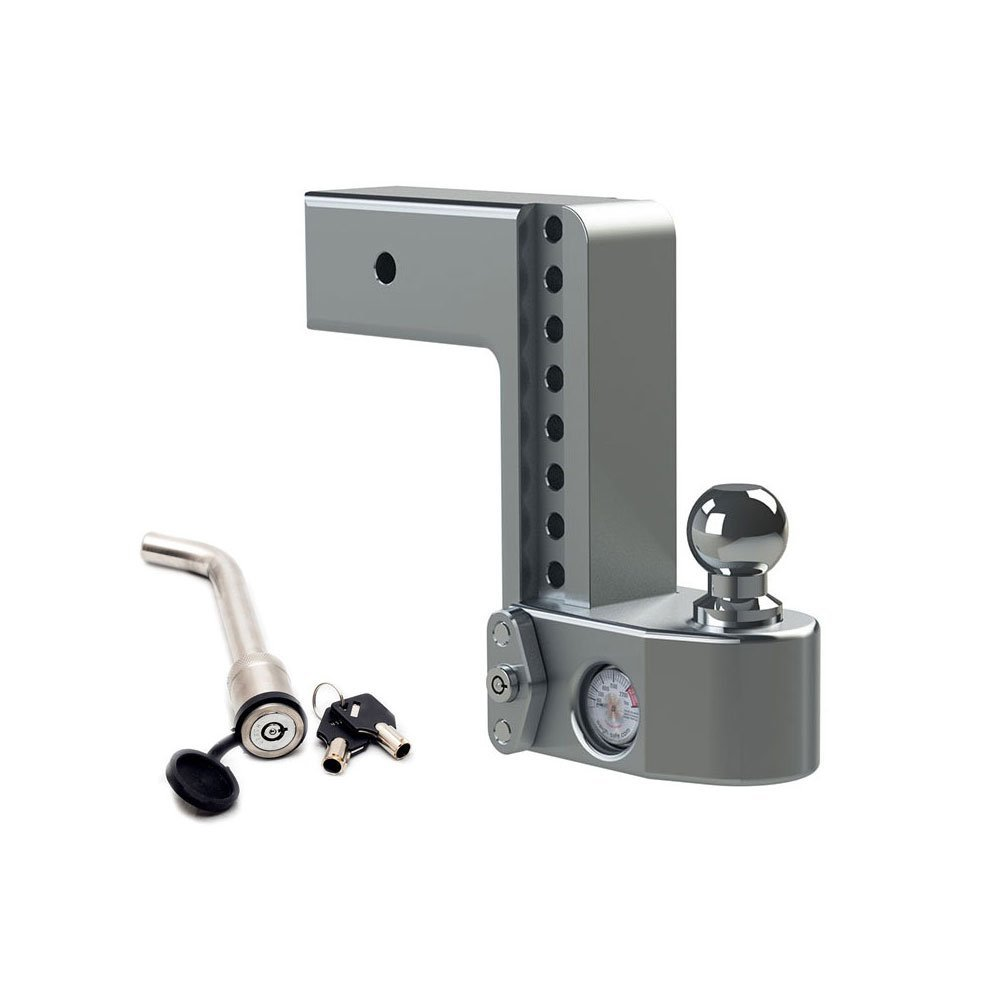 Weigh Safe WS8-3-KA, 8'' Drop Hitch w/ 3'' Shank/Shaft - Adjustable Aluminum Trailer Hitch & Ball Mount w/Built-in Scale, 2 Stainless Steel Balls (2'' & 2-5/16'') Keyed Alike Key Lock and Hitch Pin by Weigh Safe
