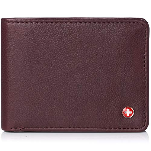 Alpine Swiss Mens RFID Safe Leather Wallet Slim Flip-out Bifold Trifold Hybrid Soft Nappa Burgundy