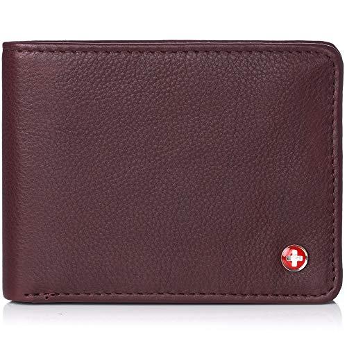 (Alpine Swiss Mens RFID Safe Leather Wallet Slim Flip-out Bifold Trifold Hybrid Soft Nappa Burgundy )