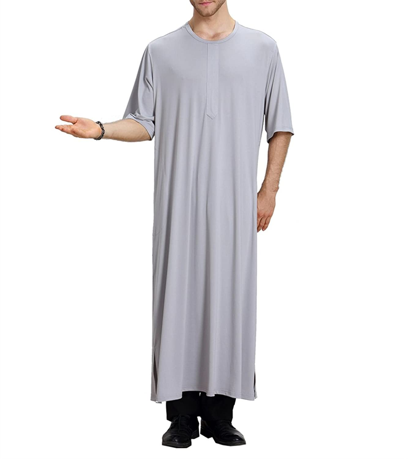 zhbotaolang Summer Men's Kaftan V-Neck Islamic Saudi Arabia Dress M-XL