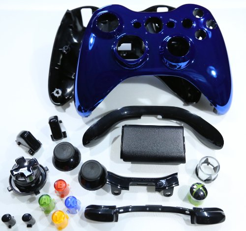 OEM Microsoft Blue Chrome Xbox 360 Controller Shell Housing (thumbsticks, transforming d-pad, buttons, ect)