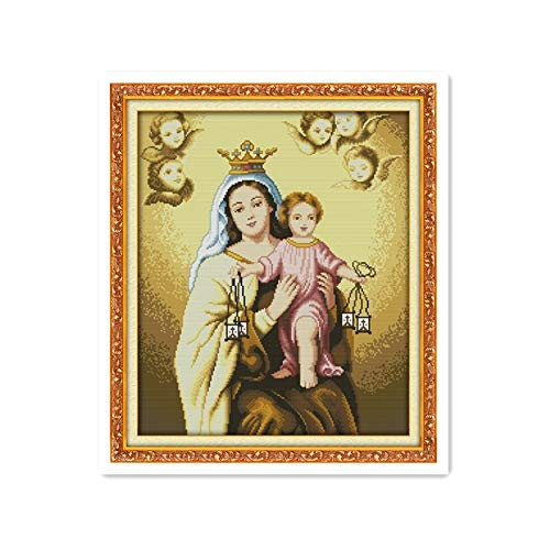 Zamtac Jesus Christ Catholic Mother of God and Son 11CT 14CT Calico Cross Stitch kit DIY Handmade Material Package Sewing Pictures - (Cross Stitch Fabric CT Number: 14CT unprinted)
