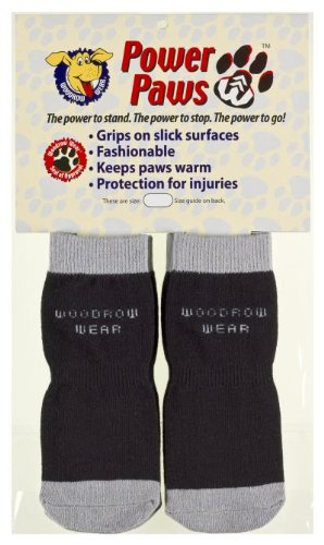 Woodrow Wear Power Paws, Traction Socks for Dogs, Black & Gray, XS, fits up to 25 lbs by Woodrow Wear