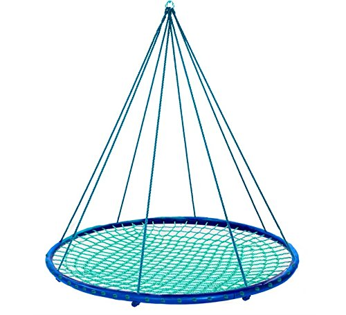 - HearthSong® Sky Island Giant Outdoor Hanging Round Platform Swing for Multiple Kids and Adults, 400 lbs Max Weight, 5ft Diameter