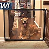 Magic Gate Portable Folding Mesh Gate Guard Pet Safety Gate, Safety Enclosure for Pet, Baby Safety Fence, As Seen On TV (black, 43in)