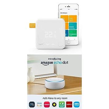 Echo Dot gris + Tado Termostato Inteligente Kit de Inicio V3+ - Control inteligente de calefacción