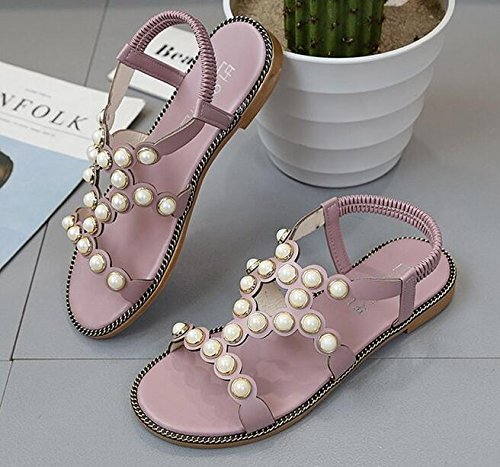 KUKI Sandals Flats Beads Einfache Vorder- und Hinterbeine ausgesetzt Zehe 3