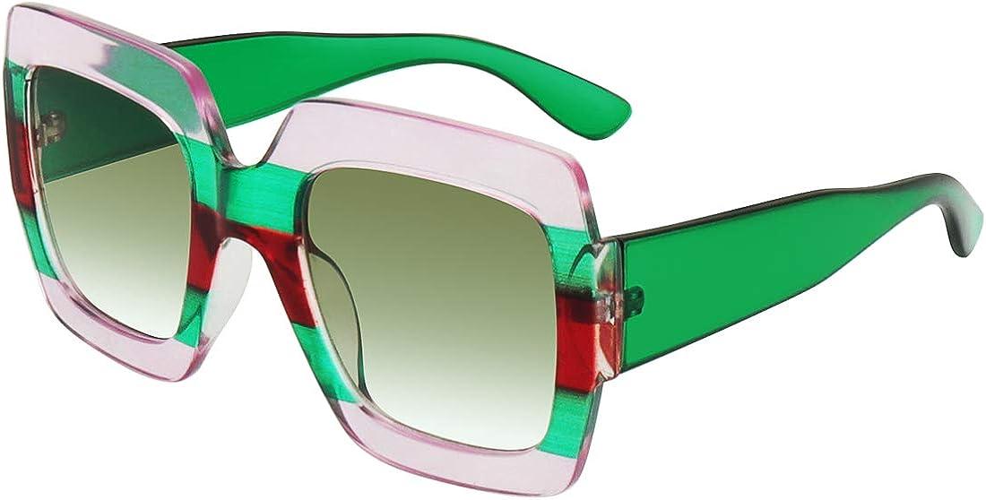Trendy Square Oversized Sunglasses Vintage Style Eyewear Fashion Shades