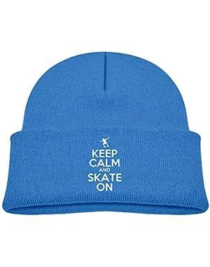 Warm Keep Calm and Skate On Printed Newborn Baby Winter Hat Beanie