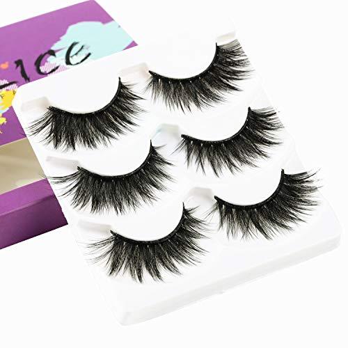 (ALICE False Eyelashes 3D Faux Mink Dramatic Lashes 3 Pairs)