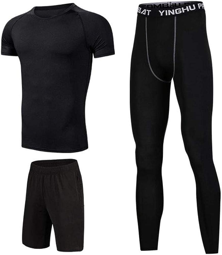 Compression Shirts Shorts Compression Leggings Workout Set Suits Jalas 3Pcs Workout Clothes Set for Men