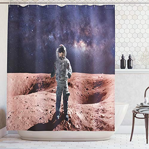 Ambesonne Galaxy Shower Curtain, Brave Astronaut Standing on Red Planet Mars Rocky Stone Surface Nebula Print, Cloth Fabric Bathroom Decor Set with Hooks, 70 Inches, Rusty Red Tan Blue ()