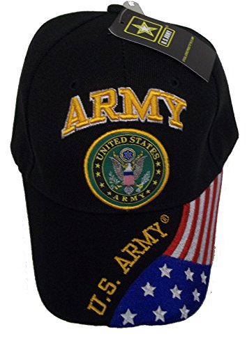 UNITED STATES ARMY BASEBALL STYLE EMBROIDERED HAT flag us usa black cap