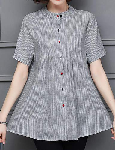 YFLTZ da tinta cotone Camicia in unita girocollo lavoro out donna Khaki 6Ir6wqnT