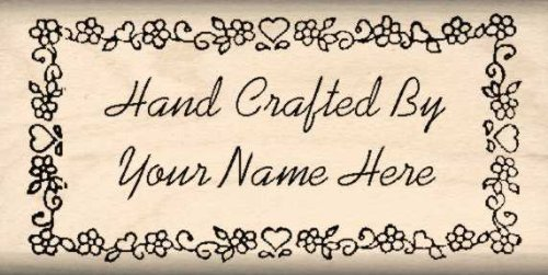 alized – Hand Crafted By Rubber Stamp – 1 inch x 2 inches (Personalized Scrapbooking)