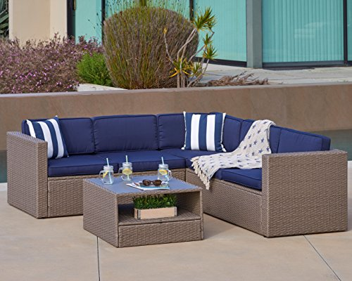 Grey Wicker Sectional Set - Solaura Outdoor 4-Piece Sofa Sectional Set All Weather Warm Grey Wicker with Nautical Navy Blue Waterproof Cushions & Sophisticated Glass Coffee Table | Patio, Backyard, Pool