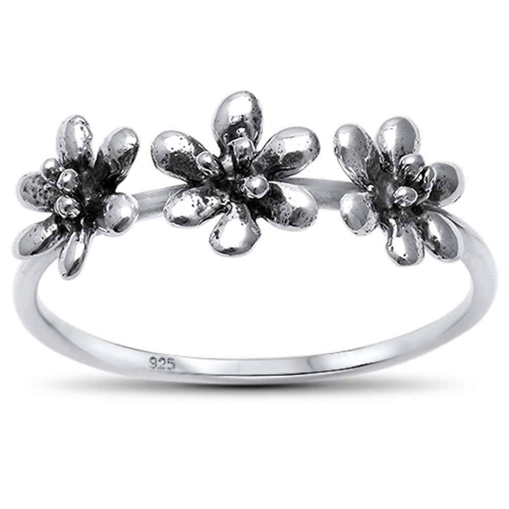 Princess Kylie 925 Sterling Silver Triple Flower Ring