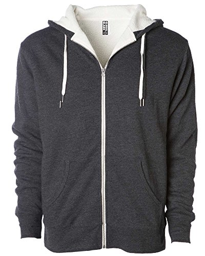 (Global Unisex Heavyweight Sherpa Lined Zip Up Fleece Hoodie Jacket Charcoal)