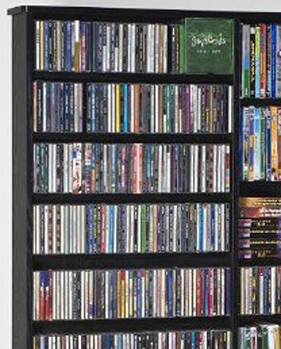 Leslie Dame CDV-1000BLK High Capacity Oak Veneer Multimedia Storage Rack, Black by LDE LESLIE DAME