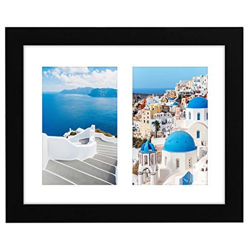 Americanflat 8x10 Black Collage Picture Frame with 2 4x6 Openings - Built-in Easel Stand ()