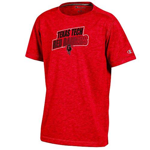 Champion (CHAFK) NCAA Texas Tech Red Raiders Youth Boys Short sleeve Crew Neck Tee, Small, Red (Champion Boys Tech Tee)