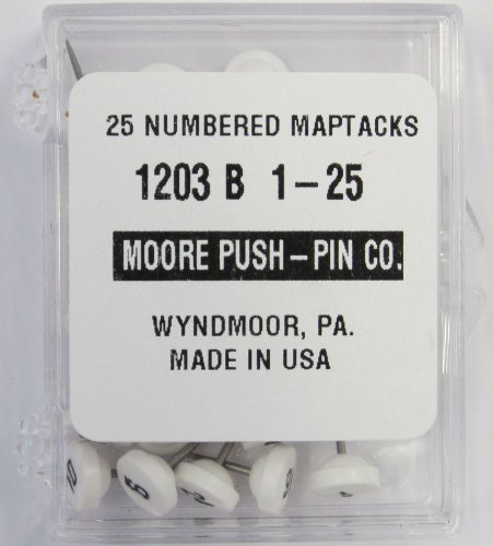 Moore Push-Pin 1203-B-1-25 Numbered Map Tacks, White, 25 Tacks per Pack