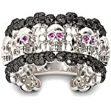 925 Silver Ring Men Women Black Topaz Skull Wedding Engagement Ring Size 6-10#by pimchanok shop (7, Black Topaz)
