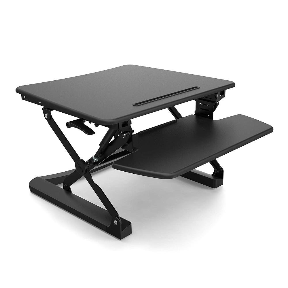 PrimeCables 35 Height Adjustable Standing Desk - Gas Spring Structure Sit to Stand Desk Riser Fits Dual Monitor - Ergonomic, Sturdy, Upscale design, Solid Black (Cab-MT101-M-BK)
