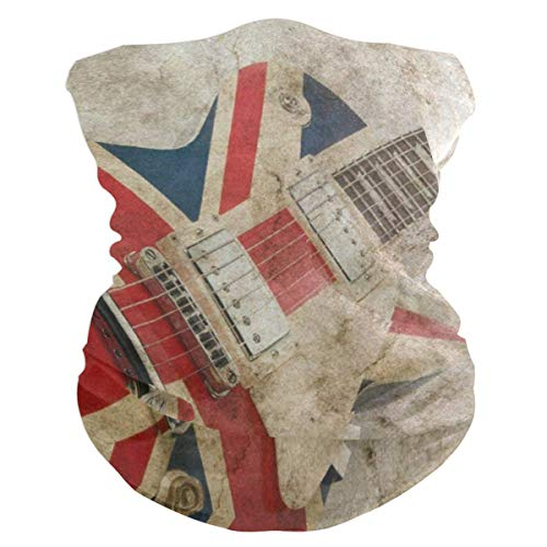 Grunge Union Jack British GuitarBalaclava Womens Headband Scarf Mens Bandana,Muffler,Neck Gaiter,Magic,Facemask Collars ()