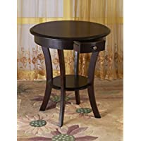 Frenchi Home Furnishing Round Table with Drawer and Shelf, Espresso