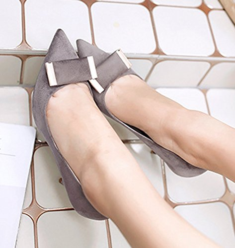 Easemax Womens Fashion Pointy Toe Stiletto Heel Dress Pump Shoes Gray ATCDsZ