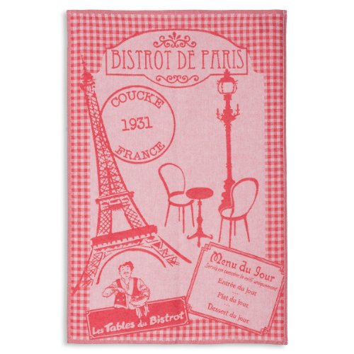 Coucke French Jacquard Cotton Kitchen Dish Towel Paris Collection, Bistro PJ, 20-Inches by 30-Inches, Red -