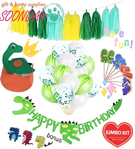 DIY Dinosaur Kids Birthday Party Supplies Banner, Balloons, Party Hats, Cake Toppers, Paper Tassels Jumbo kit
