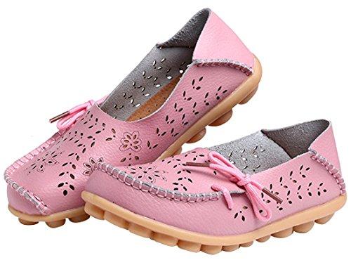 UJoowalk Frauen Leder Rindsleder aushöhlen Casual flache Fahr Schuhe Slipper Rosa