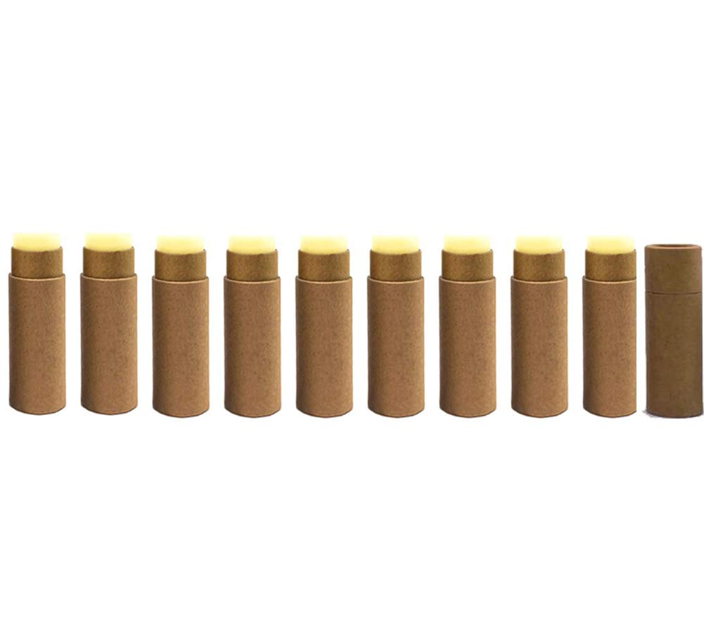Paperboard Lip Balm Tubes,Cardboard Krafts Lipstick Tube Empty Lip Balm Container Round Paper Solid Perfume Tubes,10pcs (Brown)