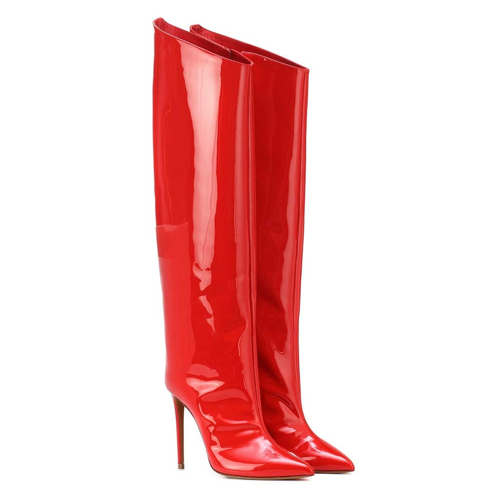 QQ Stiefel Damen Oberschenkel Hohe Stiefel Über Das Das Das Knie Stiefel Stöckelschuhe Hoher Absatz Spitzschuh Lackleder Grün rote Herbst Winter Schuhe Größe 35-46  fe2062