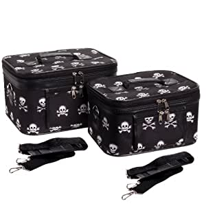 2-Piece Set Black & White Skull Print Cosmetic Cases