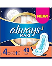 Always Maxi Size 4 Pads for Women, Overnight With Wings, Unscented, 48 Count, Packaging May Vary