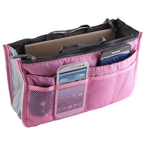 (Large Purse Organizer Insert Handbag Pouch Tidy & Neat (Ships From USA) (pink))