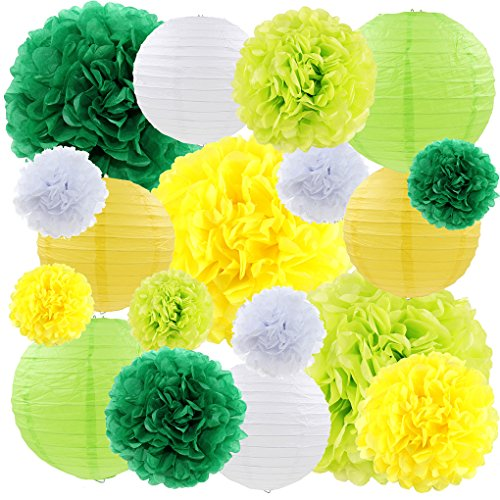 Green and Yellow Tissue Paper Pom Poms Flowers Birthday Party Decorations for Wedding Bridal Shower, Baby Girl Shower Decorative Supplies, 18ct -