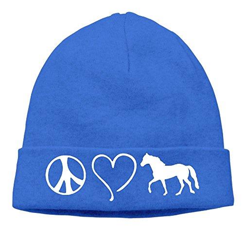 MUYS-KL Men & Women Peace Love Horses Fleece Beanie Hat Outdoor newsboy ()